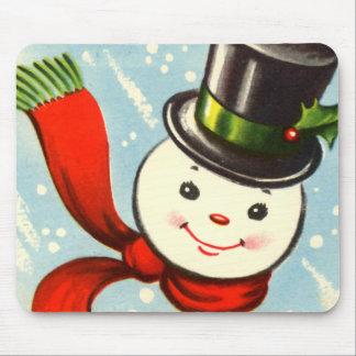 Cute Little Retro Snowman Mouse Mat