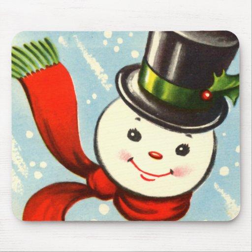 Cute Little Retro Snowman Mouse Pads
