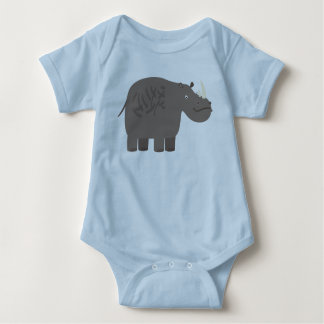 Cute Little Rhino Baby Blue Baby Bodysuit