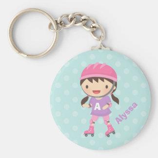 Cute Little Roller Skater Girl For Girls Key Ring