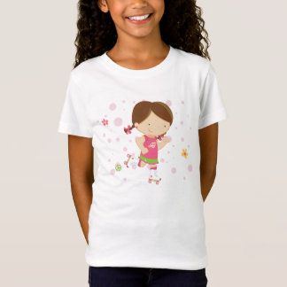 Cute little roller skater girl girl's t-shirt