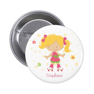 Cute little roller skater girl personalized button