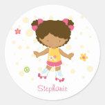 Cute little rollerskater girl personalised sticker