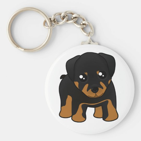 Cute Little Rottweiler Puppy Dog Cartoon Animal Basic Round Button Key Ring
