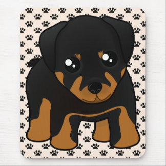 Cute Little Rottweiler Puppy Dog Cartoon Animal Mouse Mat