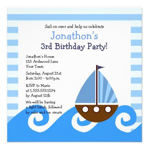 "Cute Little Sailboat Blue Birthday Invite 5.25"""