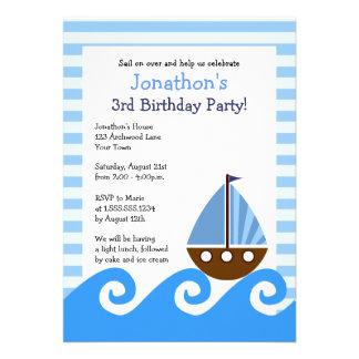 Cute Little Sailboat Blue Birthday Invite 5x7