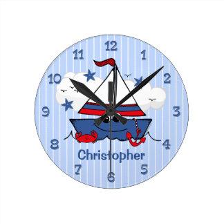 Cute Little Sailboat Round Wall Clock