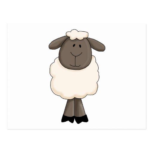 Cute little sheep ewe post card