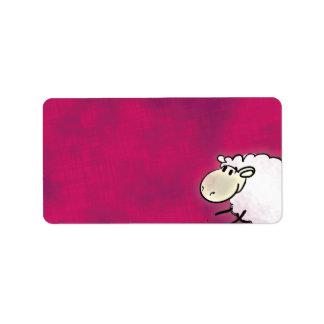 cute little sheep on dark pink address label
