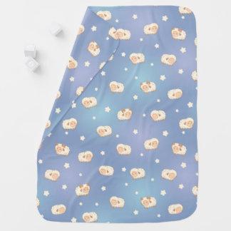 Cute Little Sheep Pattern on Blue Baby Blanket