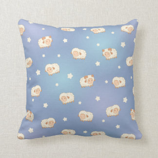 Cute Little Sheep Pattern on Blue Cushions