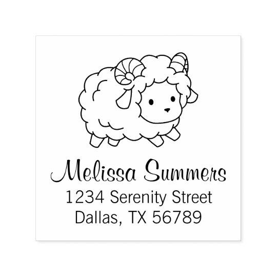 Cute Little Sheep Ram Address Self-inking Stamp