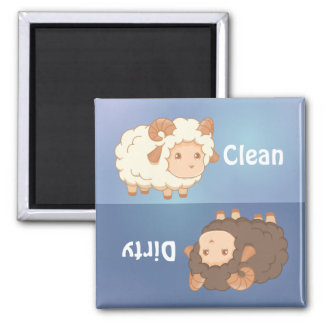 Cute Little Sheep Ram Clean Dirty Dishwasher Square Magnet