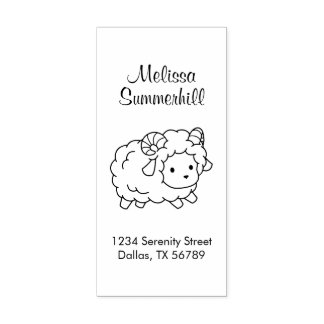 Cute Little Sheep Ram Color Me Address Rubber Stamp