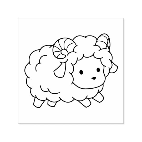 Cute Little Sheep Ram Colour Me Self-inking Stamp