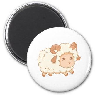 Cute Little Sheep Ram 6 Cm Round Magnet