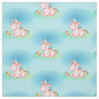 Cute Little Sitting Pink Unicorn Fabric