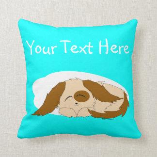 Cute Little Sleepy Puppy Dog Throw Pillow Cushion