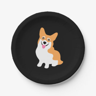Cute Little Smiling Corgi Puppy 7 Inch Paper Plate
