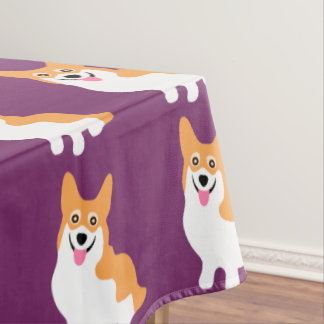 Cute Little Smiling Corgi Puppy Tablecloth