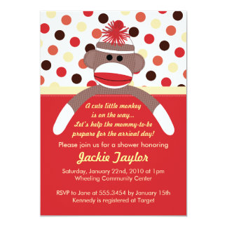 Cute Little Sock Monkey Baby Shower Invitation