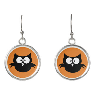 Cute Little Spooky Black Halloween Owl Earrings