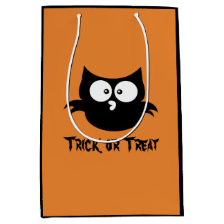 Cute Little Spooky Black Halloween Owl Medium Gift Bag