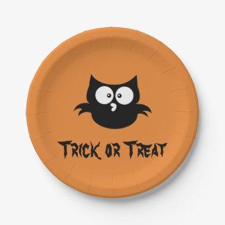 Cute Little Spooky Black Halloween Owl Paper Plate