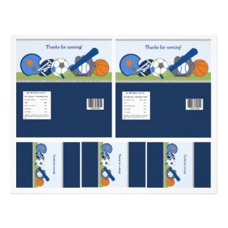 Cute Little Sports Player Candy Bar Labels 2 sizes 21.5 Cm X 28 Cm Flyer