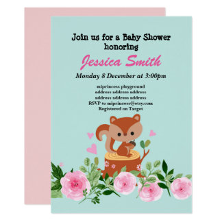 cute little squirrel baby shower invitation