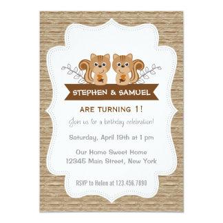 Cute Little Squirrel Birthday Invitation Woodland