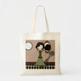 Cute Little Steampunk Girl in Green Budget Tote Bag