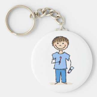 Cute little stick figure boy with toothbrush basic round button key ring