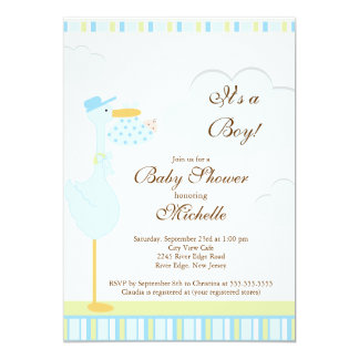 Cute Little Stork Boy Baby Shower Invitation
