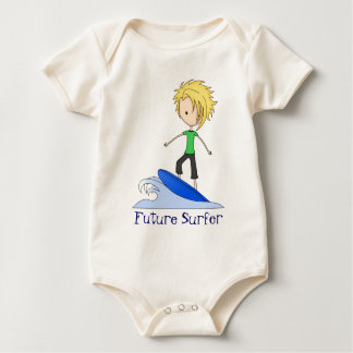 Cute Little Surfer Cartoon Kid on a Wave Baby Bodysuit