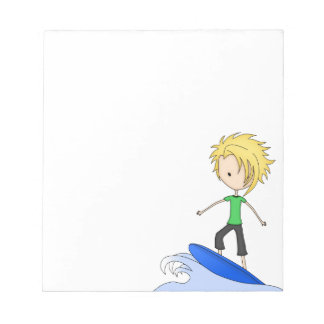 Cute Little Surfer Cartoon Kid on a Wave Notepad