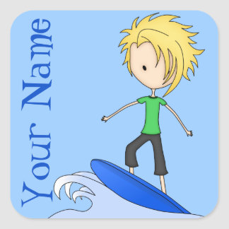 Cute Little Surfer Cartoon Kid on a Wave Square Sticker