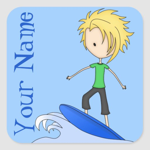 Cute Little Surfer Cartoon Kid on a Wave Square Stickers