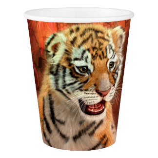 Cute little tiger baby paper cup