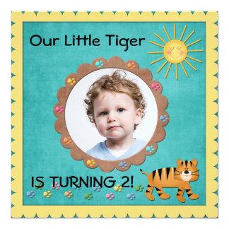 Cute Little Tiger Birthday Party 13 Cm X 13 Cm Square Invitation Card