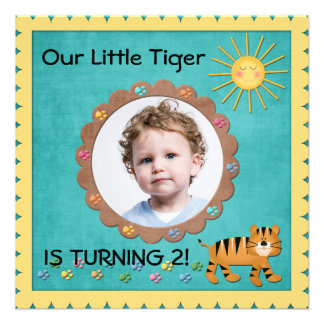 Cute Little Tiger Birthday Party Announcement
