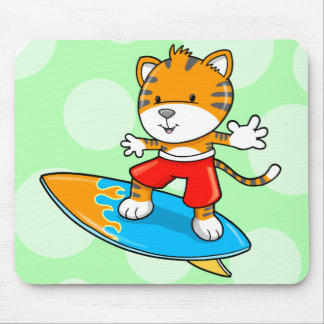 Cute Little Tiger Cub Surfing  Mouse Pad