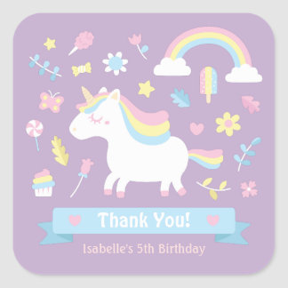 Cute Little Unicorn Girls Birthday Decor Stickers