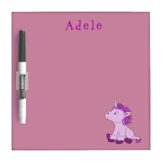Cute Little Unicorn Pink Violet personalized Dry Erase Board