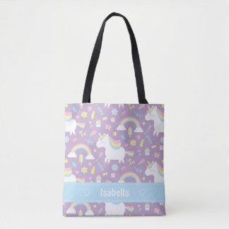 Cute Little Unicorn Rainbow Girls Pattern Tote Bag