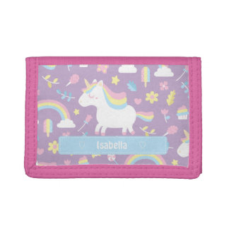 Cute Little Unicorn Rainbow Girls Pattern Wallet