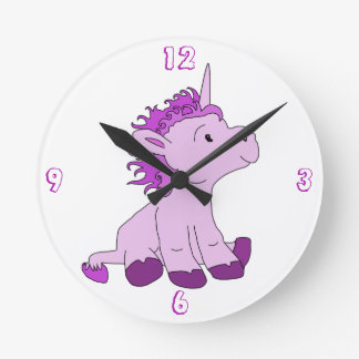 Cute Little Unicorn with Pink Violet mane Clocks