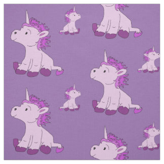 Cute Little Unicorn with Pink Violet mane Fabric