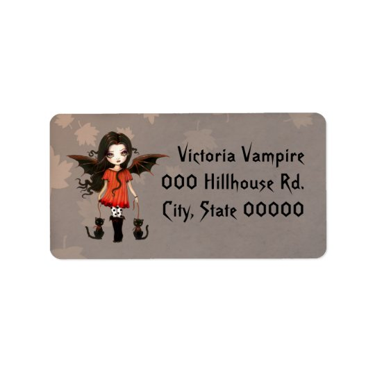 Cute Little Vampire and Cats Halloween Address Label